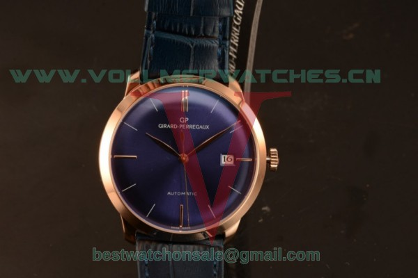 Girard Perregaux 1966 9015 Auto Blue Dial with Rose Gold Case 49527-52-431-BB4A