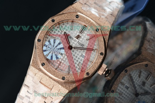 Audemars Piguet Royal Oak Quartz White Dial with Rose Gold Case 67653OR.GG.1263OR.01 (EF)