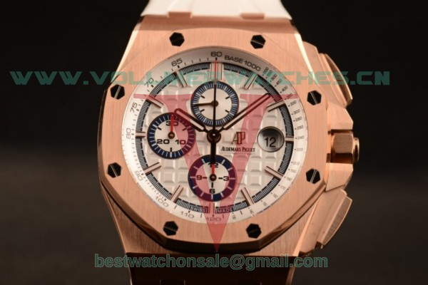 1:1 Audemars Piguet Royal Oak Offshore Summer Edition Chrono 3126 Auto White Dial with Rose Gold Case 26408OR.OO.A010CA.01 (JF)