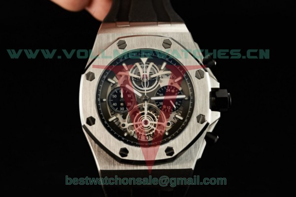 Audemars Piguet Royal Oak Offshore Tourbillon Chronograph Miyota Quartz White Dial with Steel Case 26407TI.GG.A002CA.04