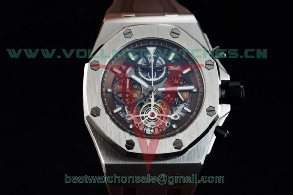 Audemars Piguet Royal Oak Offshore Tourbillon Chronograph Miyota Quartz Brown Dial with Steel Case 26407TI.GG.A002CA.03