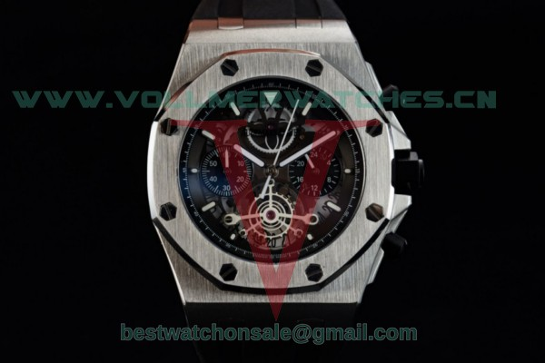 Audemars Piguet Royal Oak Offshore Tourbillon Chronograph Miyota Quartz Black Dial with Steel Case 26407TI.GG.A002CA.02