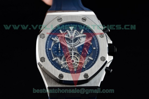 Audemars Piguet Royal Oak Offshore Tourbillon Chronograph Miyota Quartz Blue Dial with Steel Case 26407TI.GG.A002CA.05
