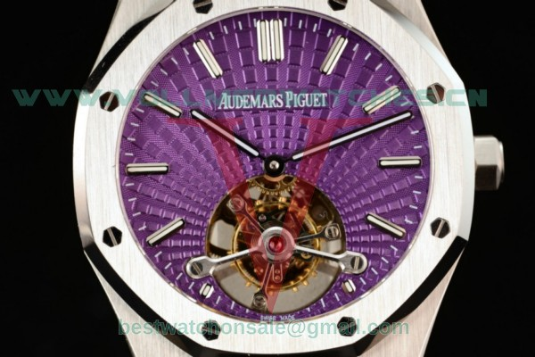 Audemars Piguet Royal Oak Tourbillon Swiss Tourbillon Manual Winding Purple Dial With Steel Case 26522ST.OO.1220ST.01