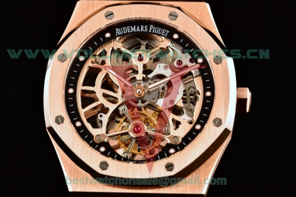 Audemars Piguet Royal Oak Skeleton Tourbillon Swiss Tourbillon Manual Winding Skeleton Dial With Rose Gold Case 26518OR.OO.1220OR.01