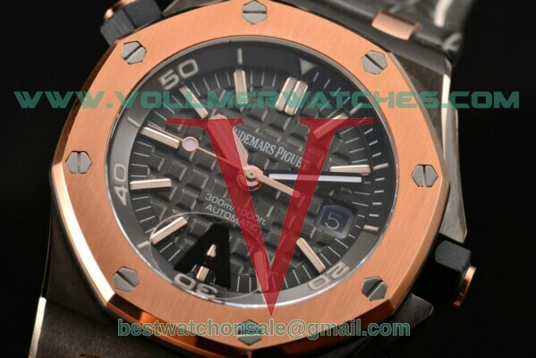 Audemars Piguet QEII Cup 2014 Royal Oak Offshore Diver Limited Edition Miyota 9015 Auto Black Dial with PVD Case 15709TR.OO.A005CR.01