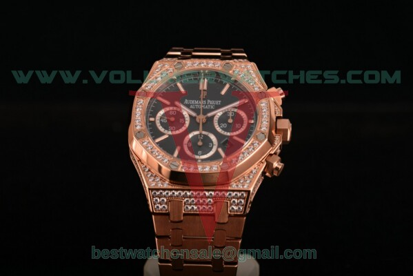 Audemars Piguet Royal Oak Chrono 7790 Auto Black Dial with Rose Gold Case 26320OR.OO.1220OR.013D (EF)