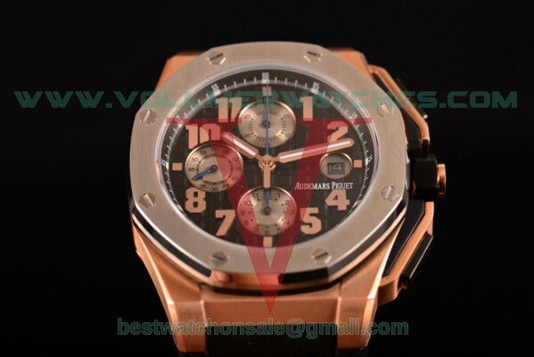 Audemars Piguet Royal Oak Offshore Clone AP Calibre 3126 Auto Black Dial with Rose Gold Case 26210OI.OO.A108CR.01 (EF)