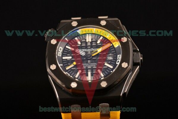 Audemars Piguet Royal Oak Offshore Diver Auto Black Dial with PVD Case 15706AU.00.A002CA.01 (EF)