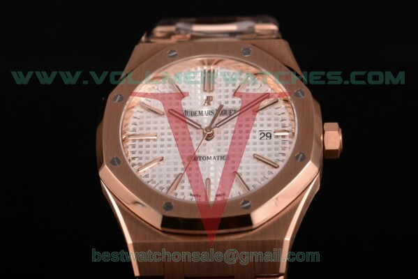 Audemars Piguet Royal Oak 41 MM Clone AP Calibre 3120 Auto White Dial with Rose Gold Case 15400or.oo.1220or.02 (JF)