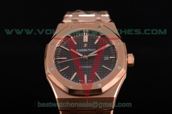 Audemars Piguet Royal Oak 41 MM Clone AP Calibre 3120 Auto Black Dial with Rose Gold Case 15400or.oo.1220or.01 (JF)