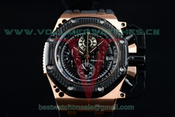 Audemars Piguet Royal Oak Offshore Survivor Chrono Miyota OS20 Quartz Black Dial with Rose Gold Case Black Ceramic Bezel 26165io.oo.a002CA.01.rg (EF)
