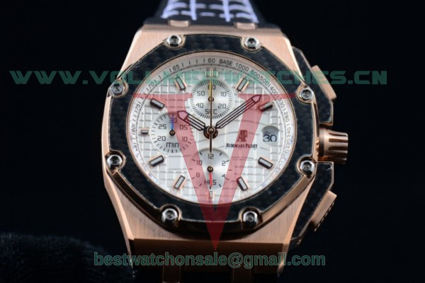 Audemars Piguet Royal Oak Offshore Juan Pablo Montoya Chrono Miyota OS10 White Dial with Rose Gold Case 26030RO.OO.D001IN.01W (EF)