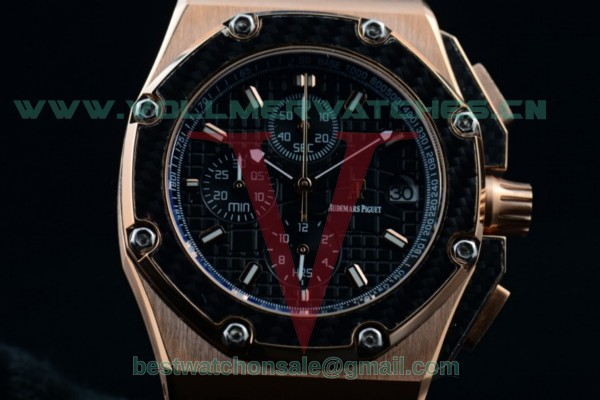 Audemars Piguet Royal Oak Offshore Juan Pablo Montoya Chrono Miyota OS10 Black Dial with Rose Gold Case 26030RO.OO.D001IN.01 (EF)
