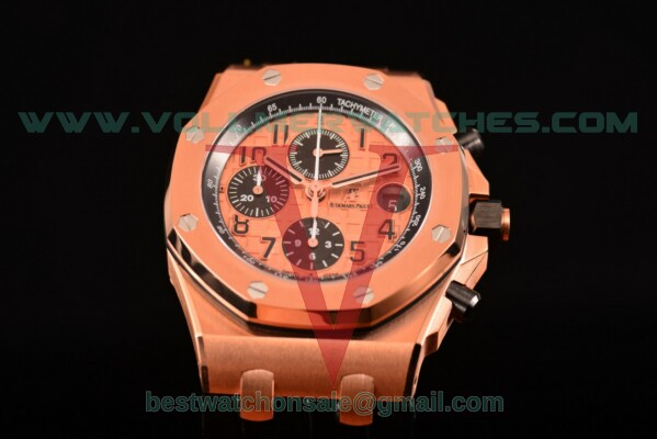 Audemars Piguet Royal Oak Offshore Chrono Clone AP Calibre 3126 Auto Rose Gold Dial With Rose Gold Case 26470OR.OO.A002CR.01(J12)