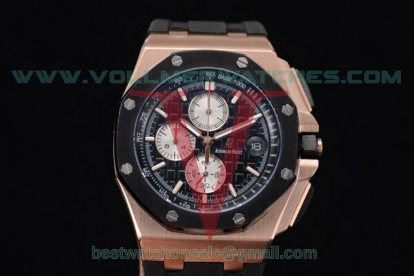 Audemars Piguet Royal Oak Offshore Chrono Japanese Miyota OS Quartz Black Dial With Rose Gold Case 26401RO.OO.A002bl.CA.01(EF)