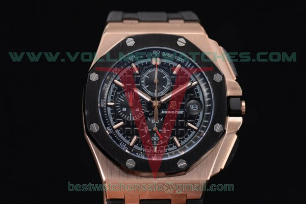 Audemars Piguet Royal Oak Offshore Chrono Japanese Miyota OS Quartz Black Dial With Rose Gold Case 26401RO.OO.A002bl.CA.03(EF)