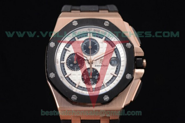 Audemars Piguet Royal Oak Offshore Chrono Japanese Miyota OS Quartz White Dial With Rose Gold Case 26401RO.OO.A002wt.CA.02(EF)
