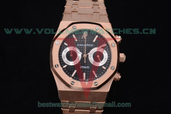 Audemars Piguet Royal Oak Chrono Seiko VK64 Quartz Black Dial With Rose Gold Case 15400or.oo.1220or.01c(EF)