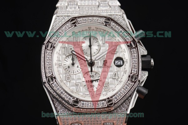 Audemars Piguet Royal Oak Offshore Chrono Seiko VK67 Quartz White Dial With Steel/Diamonds Case 26170ST.OO.D091CR.01D.Wht