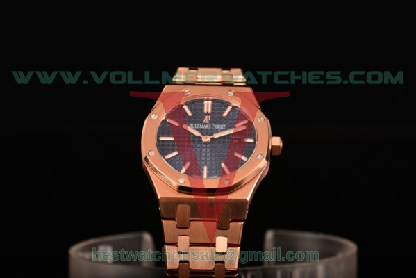 Audemars Piguet Royal Oak Miyota Quartz Blue Dial with Rose Gold Case 15202OR.OO.1240OR.01 (EF)