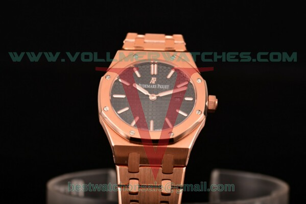 Audemars Piguet Royal Oak Miyota Quartz Black Dial with Rose Gold Case 15400or.oo.1220or.01 (EF)