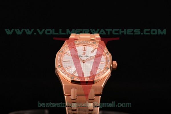 Audemars Piguet Royal Oak Miyota Quartz White Dial with Rose Gold Case 15400or.oo.1220or.02D (EF)
