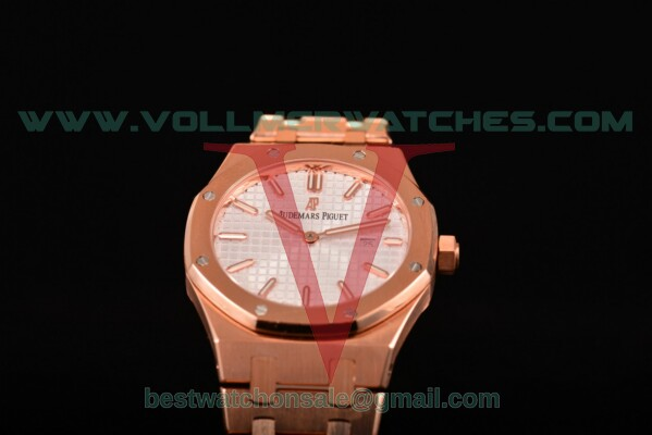 Audemars Piguet Royal Oak Miyota Quartz White Dial with Rose Gold Case 15400or.oo.1220or.02 (EF)