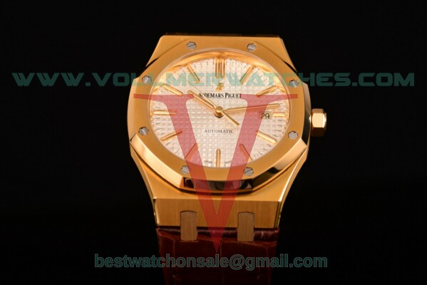 Audemars Piguet Royal Oak Miyota 9015 Auto White Dial with Yellow Gold Case 15400or.oo.d002cr.02wht (BP)