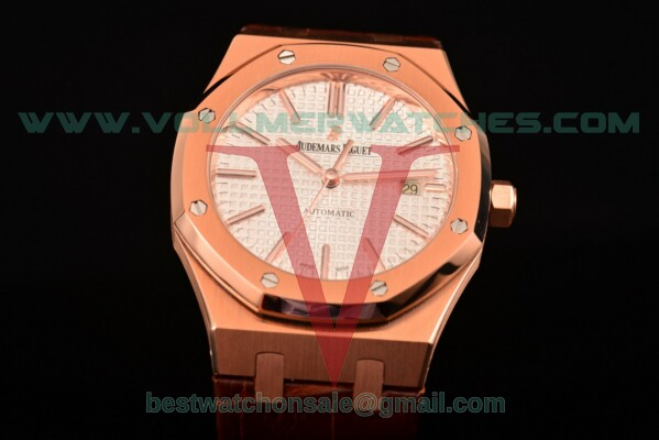 Audemars Piguet Royal Oak Miyota 9015 Auto White Dial with Rose Gold Case 15400or.oo.d088cr.01 (BP)