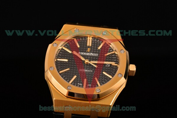 Audemars Piguet Royal Oak Miyota 9015 Auto Black Dial with Yellow Gold Case 15400or.oo.d002cr.02
