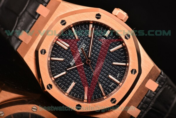 Audemars Piguet Royal Oak Miyota 9015 Auto Blue Dial with Rose Gold Case 15400or.oo.d002cr.01bl