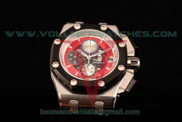 Audemars Piguet Rubens Barrichello Chrono Miyota Quartz Red/Black Dial with Steel Case 26284RO.OO.D002CR.01 (EF)