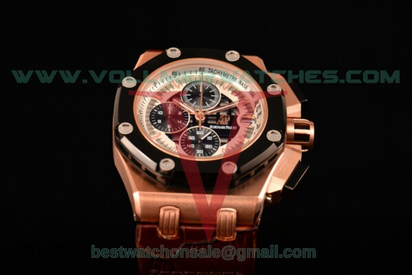 Audemars Piguet Rubens Barrichello Chrono Miyota Quartz White/Black Dial with Rose Gold Case 26078RO.OO.D002CR.01 (EF)