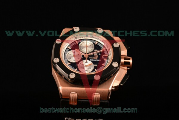 Audemars Piguet Rubens Barrichello Chrono Miyota Quartz Black Dial with Rose Gold Case 26078RO.OO.D002CR.02 (EF)