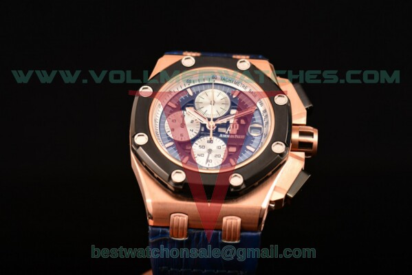 Audemars Piguet Rubens Barrichello Chrono Miyota Quartz Blue/Black Dial with Rose Gold Case 26078RO.OO.D018CR.01 (EF)