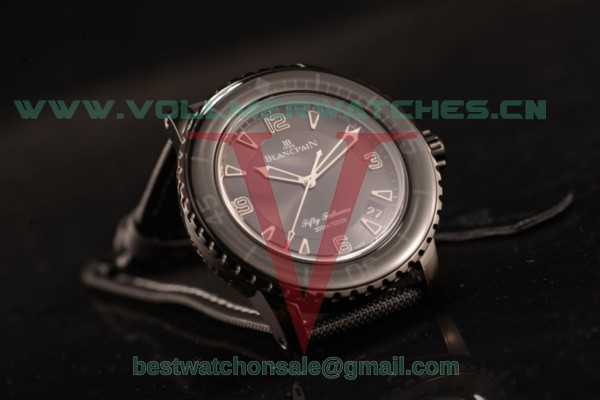 1:1 BlancPain Fifty Fathoms Automatique 2824 Auto Black Dial with PVD Case 5015-1130-54 (ZF)
