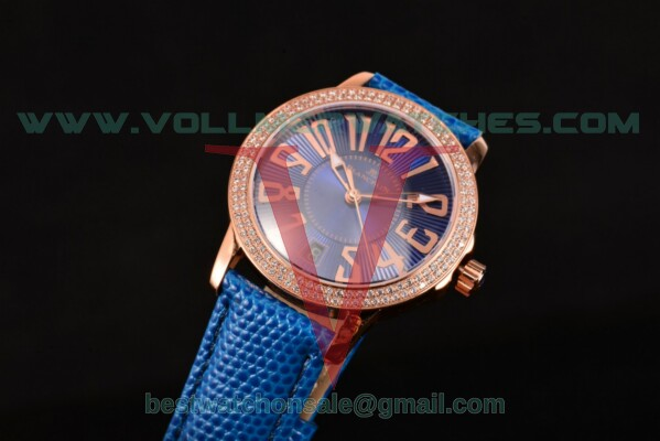 Blancpain Women Ladybird Ultraplate Miyota 9015 Auto Blue Dial Diamonds Bezel with Rose Gold Case 3300R-3544-57BL (G5)