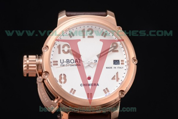 U-Boat Chimera Automatic ST25 Auto White Dial with Rose Gold Case Brown Leather Strap 7237