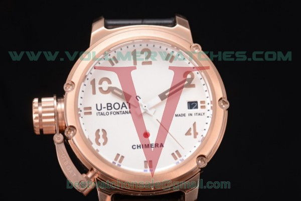U-Boat Chimera Automatic ST25 Auto White Dial with Rose Gold Case Black Leather Strap 7237