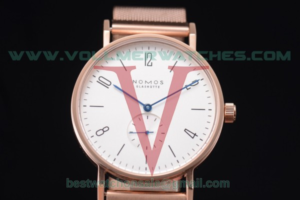 Nomos Glashutte Tangente 33 Manual Winding White Dial with Rose Gold Case 122R