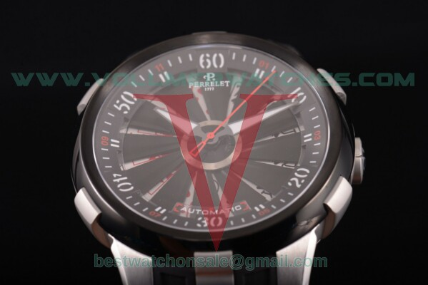 Perrelet Turbine XL Auto Black Dial with Steel Case A1051/12