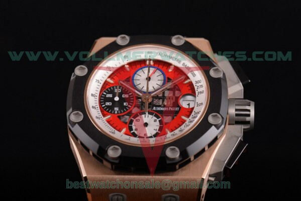 Audemars Piguet Royal Oak Offshore Ruben Barrichello Chrono 7750 Auto Red Skeleton Dial with Rose Gold Case 26284RO.OO.D002CR.01 (JF)
