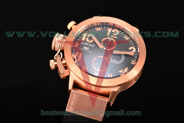 U-Boat Classico Italo Fontana Chrono Miyota Quartz Black Dial with Rose Gold Case 1758R