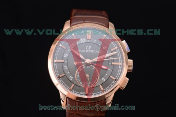 Girard Perregaux 1966 Dual Time GP03300-0119 Auto Grey Dial With Rose Gold Case 49544-52-231-BB60