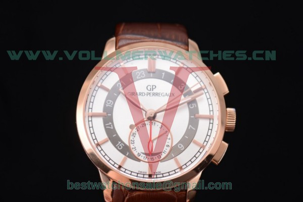 Girard Perregaux 1966 Dual Time GP03300-0119 Auto White Dial With Rose Gold Case 49544-52-131-BBB0