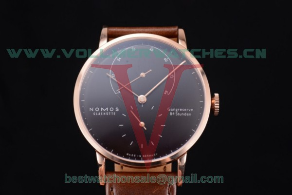Nomos Glashütte Gangreserve 84 Stunden Asia Manual Winding Black Dial With Rose Gold Case 137B