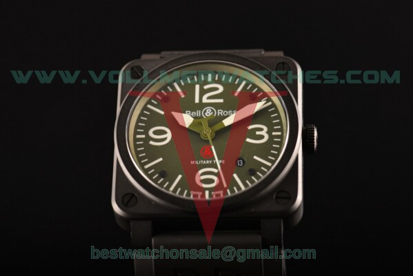 Bell&Ross BR 03-92 Military Carbon Miyota 9015 Auto Green Dial with PVD Case
