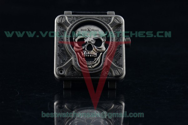 1:1 Bell & Ross BR 01 Burning Skull Asia Automatic Skull Dial with Steel Case Black Leather Strap(AAAF)