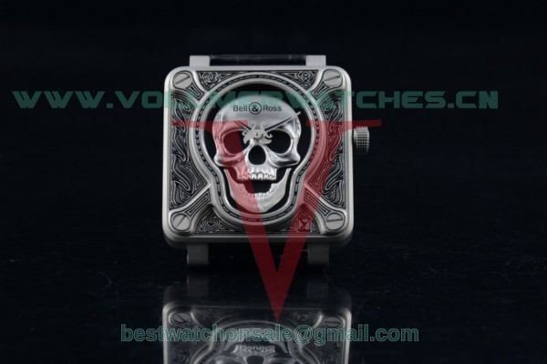 1:1 Bell & Ross BR 01 Burning Skull Asia Automatic Skull Dial with Steel Case Leather Strap(AAAF)